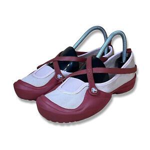 Crocs Womens Red Pink Canvas Celeste Mary Jane Croslite Slip On Shoes Size 8