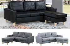 Modern L Shaped Corner Sofa Grey Charcoal Fabric Black Faux Leather 2 / 3 Seater
