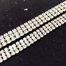 3 Row Gold Rhinestone Chain Trim Crystal Diamante Bling Wedding Cake Ribbon Lace