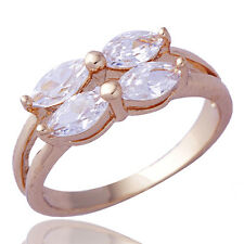 Womens Clear Cubic Zirconia Bowknot Rose Gold Filled  Engagement Ring Size 6.5
