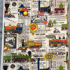 Vtg Railroad Drapery Fabric Train Schedule Northern Pacific House 'n Home 8.5 yd