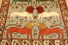 Circa 1920's Antique Prsian Shraz Qshkai Rug 4x6 Lion Design