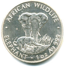 ZAMBIA 500 KWACHA 1999 AFRICAN WILDLIFE ELEPHANT SILVER COIN