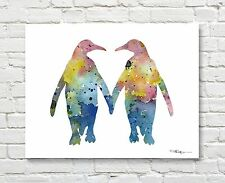 """Penguin Love Abstract Watercolor 11"""" x 14"""" Animal Art Print by Artist DJ Rogers"""