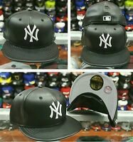 New Era 5950 NEW YORK YANKEES BLACK-LEATHER Men's Fitted MLB Hat YANKEE Cap PU