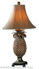 Bronze Brass Pineapple Table Lamp | Distressed Brown Antique