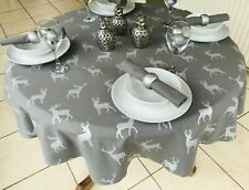 140CM DIAMETER ROUND CHRISTMAS TABLECLOTH GREY & SILVER STAGS
