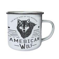 The wild side of the mountain, wolf, camping Retro,Tin, Enamel 10oz Mug v188e
