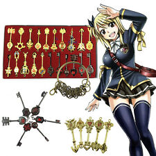 21pcs Fairy Tail Lucy Cosplay Keys Pendant Necklace Keychain +Box Gift