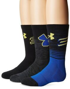 Under Armour Steph Curry Boys Youth Small 13.5-4 Warriors Crew Socks 3 PAIRS