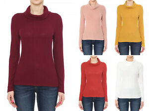 Women's Ribbed Stretch Knit Fitted Pullover Cowl Neck Sweater Long Sleeves Basic