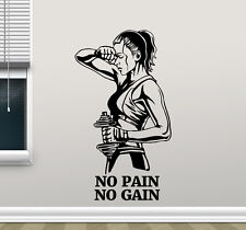 Gym Wall Decal No Pain No Gain Fitness Vinyl Sticker Motivation Art Decor 45fit