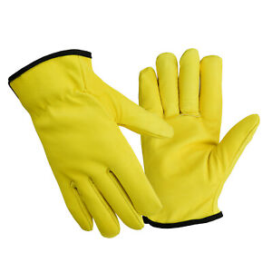 Driver Gloves Fleece Lined Leather Lorry Drivers Work Gloves Premium Quality