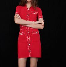 AUTH Maje CONTRAST KNIT Mini DRESS RED-0,1,2,3