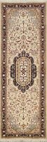 Floral Wool/ Silk Traditional Oriental Runner Rug Ivory Wool Hand-Knotted 3x8