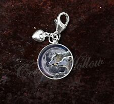 925 Sterling Silver Charm Wolf Wolves Moon Night