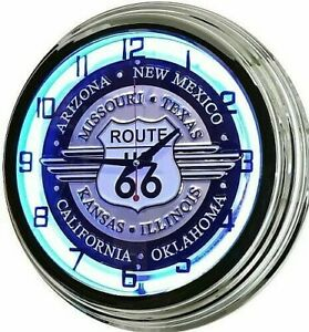 """17"""" Route 66 Sign Blue Neon Retro Wall Clock Bar Game Room Man Cave Garage RT"""