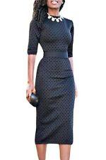 New Ladies Black Diamond Print Half Sleeved Midi Dress  Size M UK 10-12