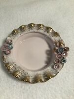 """Vintage LEFTON Pink w/Gold Trim Flowers Small Ash Tray 3.5"""""""