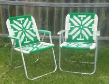 VINTAGE SET OF ALUMINUM LAWN CHAIRS GREEN & WHITE MACRAME WEBBING