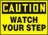 CAUTION WATCH YOUR STEP #5 VINYL DECAL / SIGN RESIDENTIAL BUSINESS AUTO TRANSIT