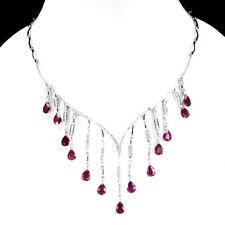 Genuine Gem Pear 8x6mm Top Blood Red Ruby, W Cz 925 Sterling Silver BIB Necklace