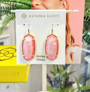 New KENDRA SCOTT  Fashion Faceted Elle Drop Earrings In Coral Illusion