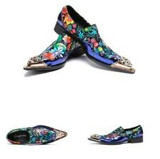Mens Leather Metal Slip On Nightclub Business Dress Pointy Toe Floral Shoes New