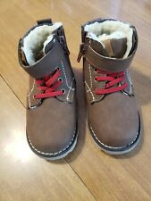 Lily & Dan Boys Toddler Size 7/8 Brown Faux Fur lined Winter Boots New!