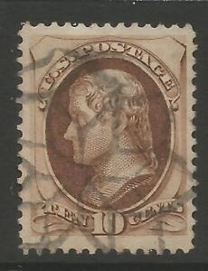 STAMPS-UNITED STATES. 1873. 10c Yellowish Brown. SG: 163b/Scott 161. Fine Used.