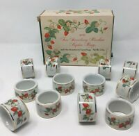 *Lot of 12 Vintage 1978 Avon Porcelain Napkin Rings Strawberry 22K Gold Trim