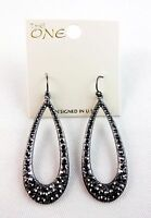 Tear drop hoop earrings dark gray crystal hook fasteners pierced ears