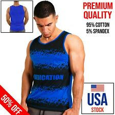 Blue Gym Tank Top Fitness Men Sleeveless Workout Bodybuilding Print High Quality