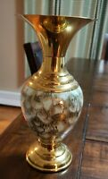 VINTAGE HANDPAINTED DELFTWARE BRASS ACCENTS VASE - MADE IN HOLLAND 10""