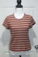 Madewell Size L Large T Shirt Knit Top Multi Colored Striped Short Sleeve Crew