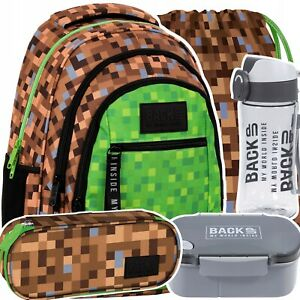 Set Schulrucksack Backpack Rucksack Ranzen Beutel Wasserflasche Jungen Minecraft