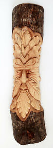Hand Carved Wooden Green Man Half tree stump 50 cm CARVING for inside/ outside