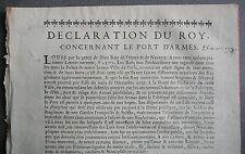 Déclaration du Roy, concernant le PORT  D. ARMES. 1743.