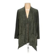 LOGO by Lori Goldstein XL Knit Cardigan with Faux Suede Details Green A266500