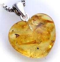 Anhänger echt Bernstein gelb Herz mit Silberschlaufe 925  Sterlingsilber Unisex