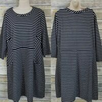 Lane Bryant Size 18/20 Shift Dress Black White Striped Casual Scoop Neck Plus