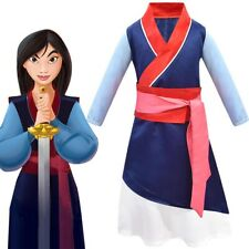 Girls Mulan Costume Classic Chinese Asian Princess Dress Kids Halloween Heroine Cosplay Birthday Party Outfit Set