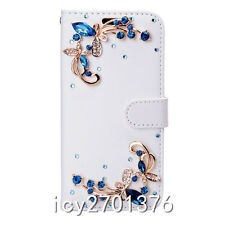 Magnetic PU Leather Bling Rhinestone Diamond Wallet Case Girl Cover For LG Phone
