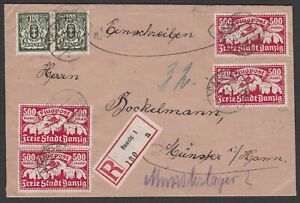 Germany. Danzig. 1923 Registered Cover to Munster. Gepruft.