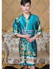 green Chinese Silk/satin Women's/Men's Kimono Robe Gown bathrobe average size
