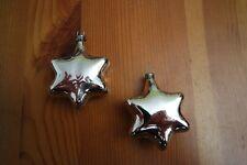 2 Sterne Silber Christbaumschmuck Weihnachtskugel, Mundgeblasen Lauscha