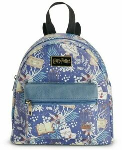 Harry Potter Floral Toss Print Hedwig Books Cages Flowers Blue Mini Backpack NWT