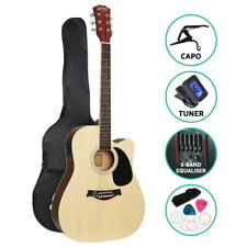 Electric Acoustic Guitar 41 Inch with Pickup 5 Band EQ Capo Tuner Natural Colour