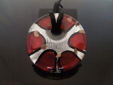 """GRANDE Rotondo 42 mm argento e pendente in Vetro Rosso & Nero Corda 925 COLLANA D'ARGENTO 20"""""""