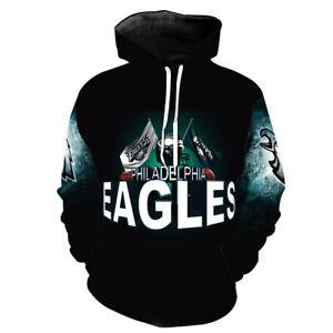 Philadelphia Eagles Hoodies 3D Sweatshirts Pullover Hooded Jacket Casual Coat